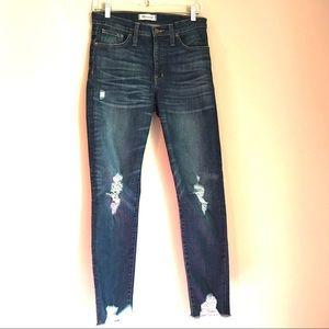 "Madewell 9"" High Rise Skinny Jeans Raw Hem"